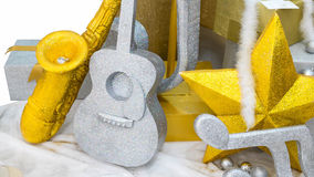 Music background, Guitar & Saxophone on snow Royalty Free Stock Photos