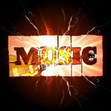 Music background with guitar and spark Royalty Free Stock Photography