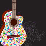 Music background with guitar. Vector abstract black music background with guitar royalty free illustration