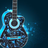 Music background with guitar. Vector abstract black music background with guitar and blue notes stock illustration