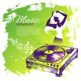 Music background with hand drawn illustration and Stock Photography