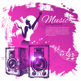 Music background with hand drawn illustration and Royalty Free Stock Image