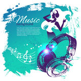Music background with hand drawn illustration and Stock Photo