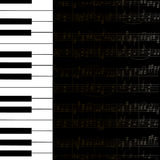 Music background with keyboard and stave notes Royalty Free Stock Photos