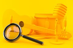 Music background with magnifying glass. In orange color. 3d illustration Stock Photography
