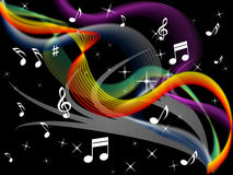Music Background Means Melody Instrument And Colorful Waves Stock Photos