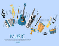 Music background with music instruments. Flat Stock Photo