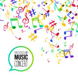 Music background. Musical background with musical notes. Vector rainbow colorful background Royalty Free Stock Photo
