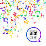 Music background. Musical background with musical notes. Vector rainbow colorful background Royalty Free Stock Images