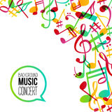 Music background. Musical background with musical notes. Vector rainbow colorful background Royalty Free Stock Photos