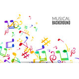 Music background. Musical background with musical notes. Vector rainbow colorful background Royalty Free Stock Image