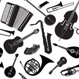 Music Background. musical instruments seamless pattern Stock Image