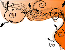 Music background with notes and flowers. Royalty Free Stock Photo