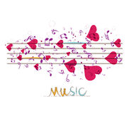 Music background with notes and hearts Royalty Free Stock Photos