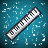 Music Design with Notes and Keyboard. Music Background with Notes and Keyboard Royalty Free Illustration