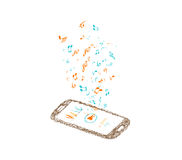 Music background with notes and smartphone Royalty Free Stock Photography