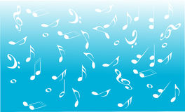 Music background. With notes and symbols in blue Royalty Free Stock Images