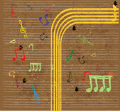 Music background with notes and treble clef Royalty Free Stock Image