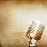 Music background with old mic Royalty Free Stock Photography