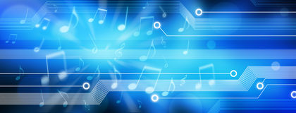 Music Background Banner. A panorama background with music notes and electronic elements Royalty Free Stock Photo