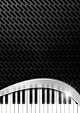 Music Background with Piano Keys. Black and grey background with metallic grid, metal curve and piano keyboard Stock Images