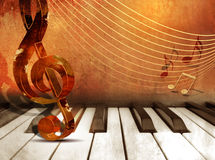 Music background with piano keys and music notes Stock Photo