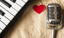 Music background with piano and retro microphone. On grunge paper texture Stock Photo