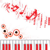 Music Background Red. Beautiful red music background decoration with piano and speaker Royalty Free Stock Image