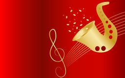 Music background. Red background with saxophone and treble clef Stock Image