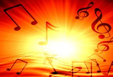 Music background. Red background with some music notes on it Royalty Free Stock Photos