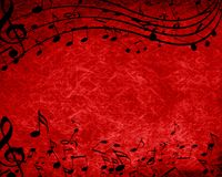 Music background. Red background with some music notes on it Stock Image