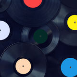 Music background retro vinyl discs closeup, sound disco concept Stock Photography