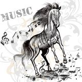 Music background with running horse and notes Royalty Free Stock Image
