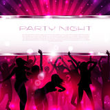 Music Background with silhouettes of dancing girls  - Vector. With place for text Royalty Free Stock Photography