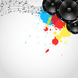 Music Background with Speakers and Spots - Vector Stock Photos