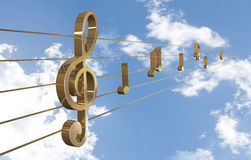 Music Background with Treble Clef Stock Images