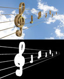 Music Background with Treble Clef Stock Photography