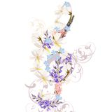 Music background with treble clef decorated by flowers Stock Photos