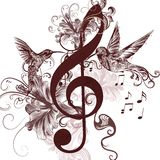 Music background with treble clef and hummingbirds for design Royalty Free Stock Photos