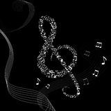 Music background with treble clef and notes Royalty Free Stock Photography