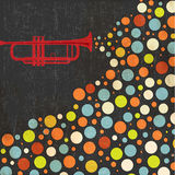 Music background with trumpet and balls Royalty Free Stock Images