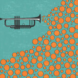 Music background with trumpet and balls Stock Photos