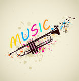 Music background with trumpet. Music bright abstract background with trumpet and notes stock illustration