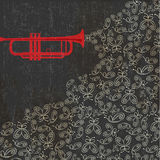 Music background with trumpet and butterflies. Vector illustration royalty free illustration