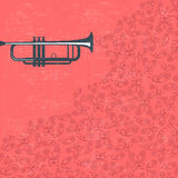 Music background with trumpet and butterflies Royalty Free Stock Photography