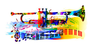 Music background with trumpet. Colorful music background painting with trumpet, piano and musical notes royalty free illustration