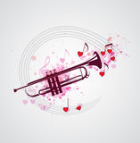 Music background with trumpet Stock Photos