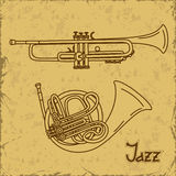Music background with trumpets Royalty Free Stock Photos