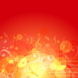 Music background. Vector fire color themed music background with music notes Stock Photography