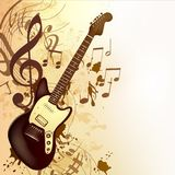 Music background in vintage style with bass guitar and notes. Vector background with detailed bass guitar and notes for design vector illustration